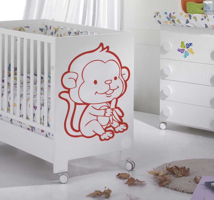 Sticker enfant singe banane