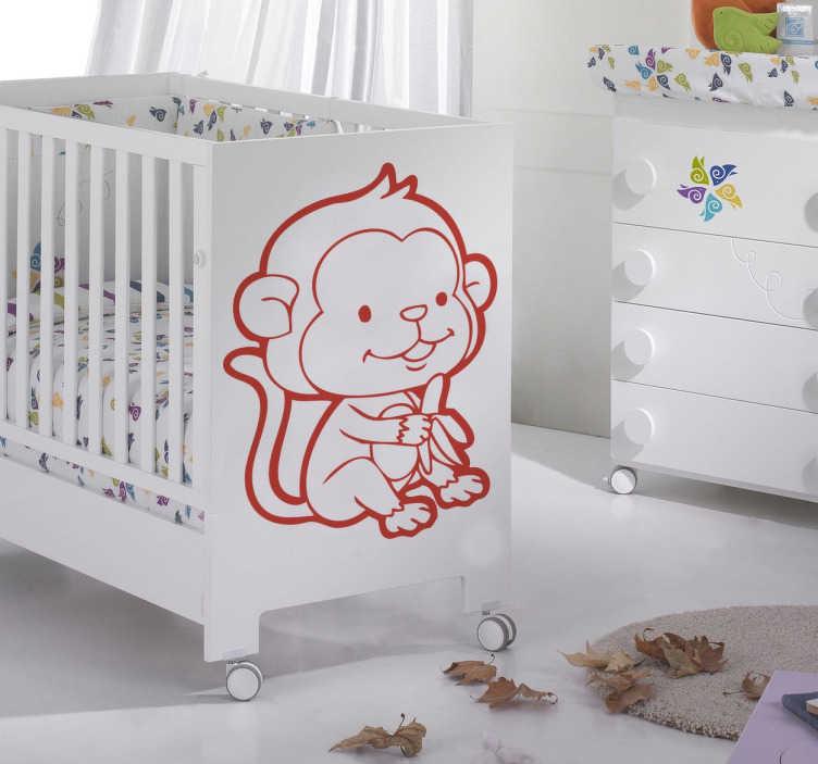 TenStickers. Autocolante infantil de um Macaco. Embeleze as paredes da sua casa com este autocolante infantil de um adorável macaco a descascar uma pequena banana.