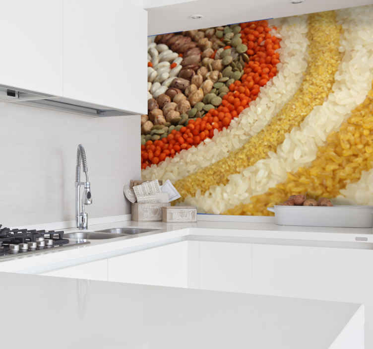 TenStickers. Rice Beans and Lentils Photography Wall Mural. Photo Murals - Photographic art made with beans, lentils and rice. Food. Cook. Eat. Style your kitchen or cooking area with Tenstickers collection.