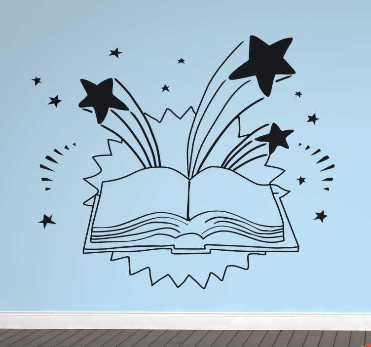 TenStickers. Boek vol fantasie sticker. Muursticker van een openliggend boek met allemaal sterren die eruit spatten! Mooie boek vol fantasie.