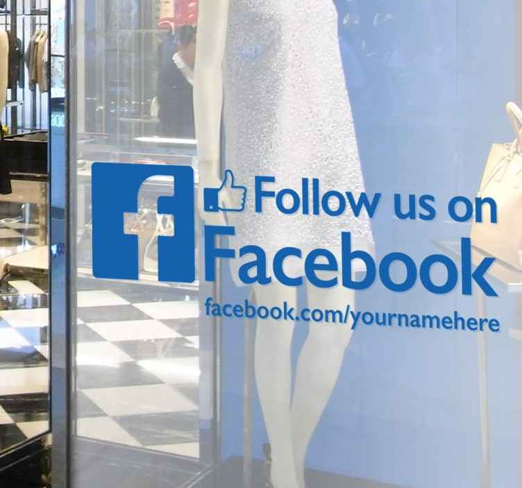 TenStickers. Sledite nam na facebook nalepki. Poslovni znaki - odličen način za promocijo facebook strani vašega podjetja. Visoko kakovostne nalepke, idealne za okna vaše sprednje strani.