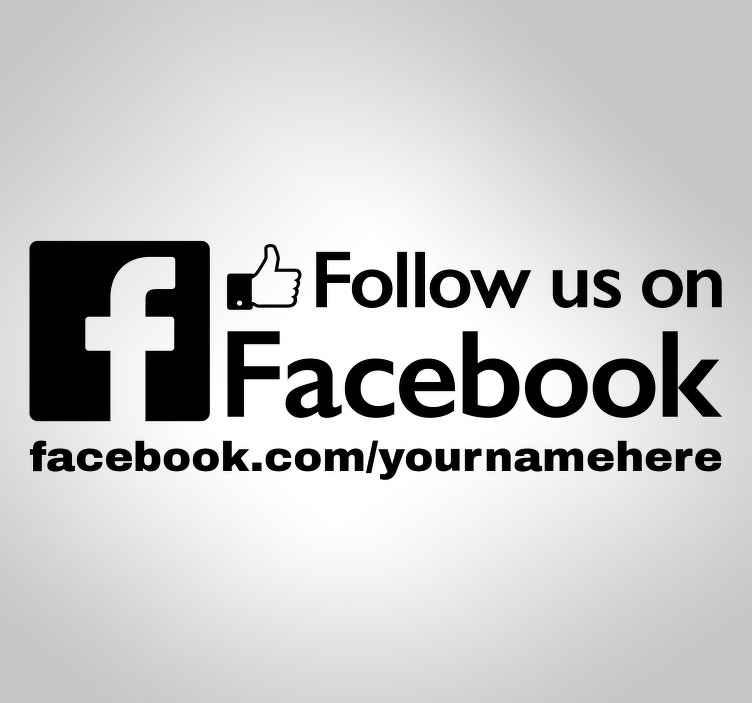 TenStickers. Adesivo decorativo Follow us no faceboolk. Uma boa forma de promover a página doFacebookdo seunegóciocom este adesivoparamontrasdelojas.