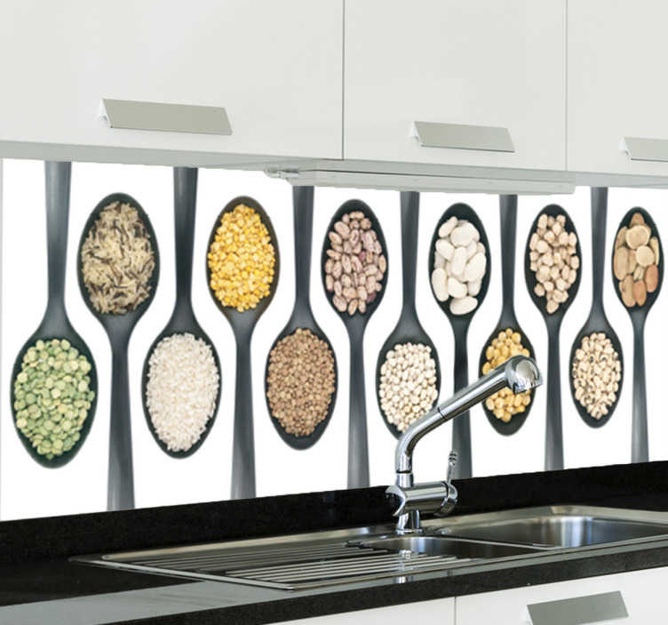 TenStickers. Kitchen Spoons Wall Sticker. Wall Mural showing numerous spoons filled with different types of food. A kitchen design from our tile stickers collection!