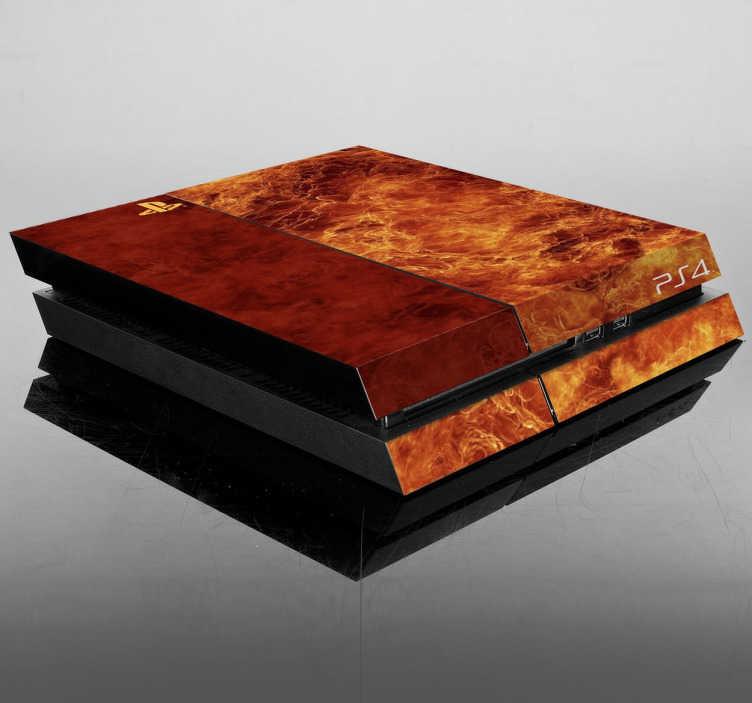 TenStickers. Naklejka na PlayStation tekstura ogień. Personalizuj Swoje Ps4 naklejką dekoracyjną imitującą ogień. Originalna dekoracyja do ozdoby Twojej konsoli.