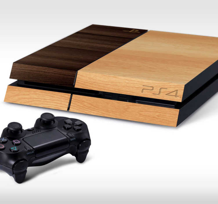 TenStickers. Wood PS4 Skin. PS4 Skins - Customise your PlayStation 4 and make it original and distinctive with this wood texture themed design. Let your PS4 blend in with the furniture while still protecting it from dust and scratches. Wooden pattern vinyl PS4 sticker with anti-bubble design.