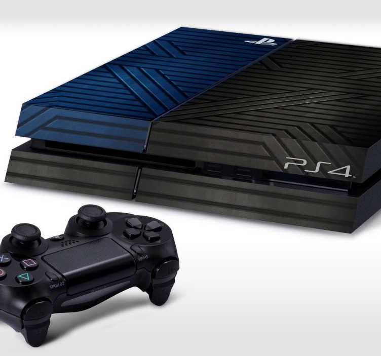 TenStickers. Metall Playstation Aufkleber. Sind Sie auf der Suche nach einer originellen Dekoration für Ihre Ps4? Dann ist dieser Aufkleber im Metall Look genau das passende für Sie