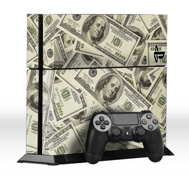 TenStickers. Dollar Bill PlayStation 4 Skin. PS4 Skins- Customise your PlayStation 4 and make it original and distinctive with this dollar bill themed design.