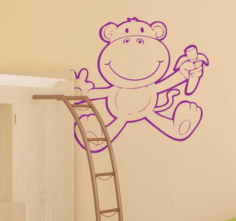TenStickers. обезьяна с бананом стикер диких животных. Дизайн детской наклейки на стену спальни создан с нанесением изображения обезьяны. веселое и веселое украшение для детей. это доступно в любом размере.