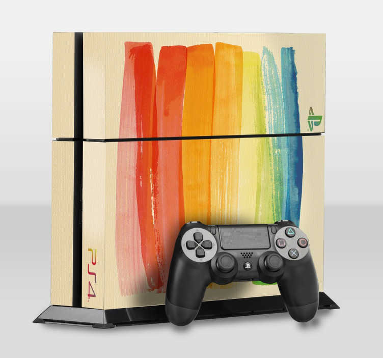 TenStickers. Painted Canvas PlayStation 4 Skin. PS4 Skins - Customise your PlayStation 4 and make it original and distinctive with this painted canvas illustration design. High quality stickers and decals at great prices.