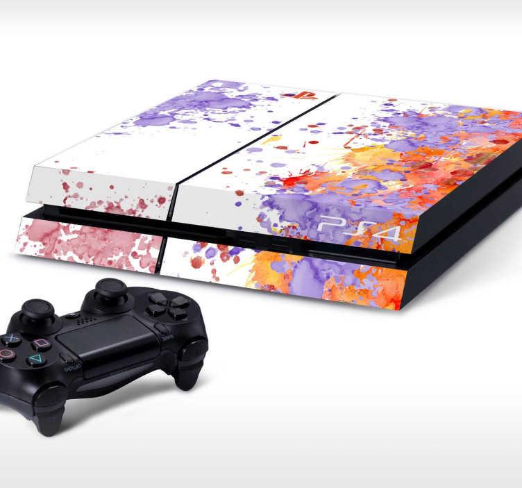 TenStickers. Sticker PlayStation taches peinture. Donnez une touche de couleur et apportez de la vie à votre console de jeux grâce à cet original sticker imitation taches de peinture conçu pour personnaliser votre PS4.