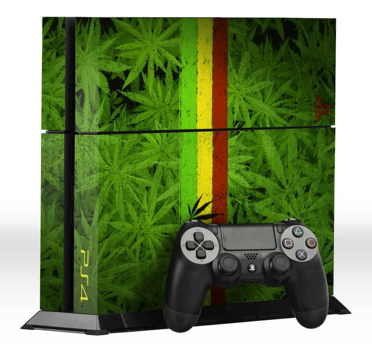 TenStickers. Marihuana playstation 4 koža. Ps4 kože - prilagodite svojo playstation 4 in naredite to izvirno in prepoznavno s to zasnovo tematike marihuane.