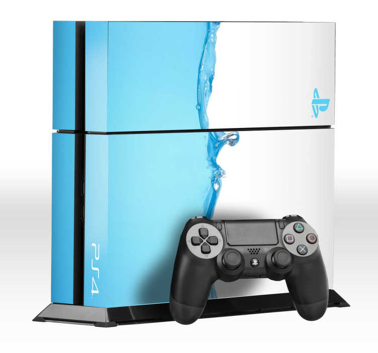 TenStickers. 蓝色水playstation 4皮肤. 水滴蓝色ps4皮肤 - 让你的ps4与这款酷炫的蓝色水设计相得益彰。我们的ps4包装很容易应用。