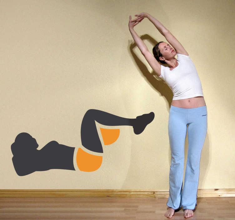 TenStickers. Sticker femme séance d'abdos. Stickers décoratif représentant une femme en pleine séance d'abdominaux.Sélectionnez les dimensions de votre choix pour personnaliser le stickers à votre convenance.Jolie idée déco pour les murs de votre intérieur de façon simple.