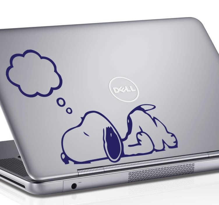 TenStickers. Sticker pc Snoopy che dorme. Sticker decorativo per pc che raffigura Snoopy che dorme. Adesivo originale per personalizzare il tuo computer.