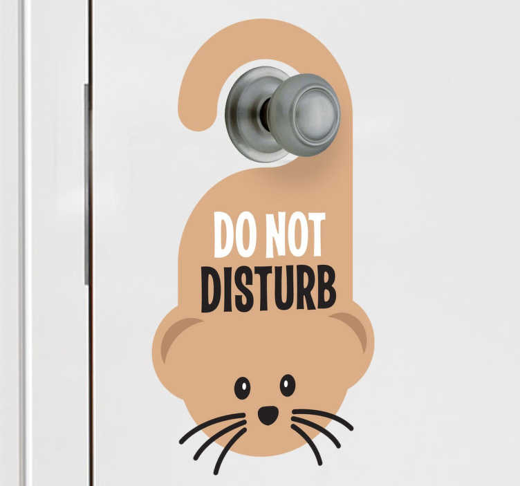 TenStickers. Do Not Disturb Mouse Kids Sticker. Fun design for decorating kids´doors. An original decal from our collection of funny wall stickers! Ideal for quiet reading zones.