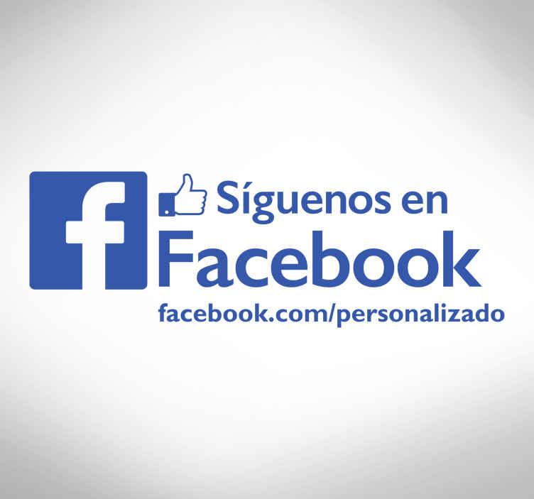 TenVinilo. Pegatina negocio facebook. Ahora hacer que la gente siga la página de Facebook de tu establecimiento es sencillo con este adhesivo decorativo para escaparates.