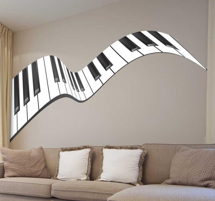 TenStickers. Naklejka falujące pianino. Naklejka dekoracyjna w muzycznym stylu przedstawiająca klawisze pianina falujące w rytm muzyki. Idealna dekoracja do wnętrz osób oddanych muzycznej pasji.