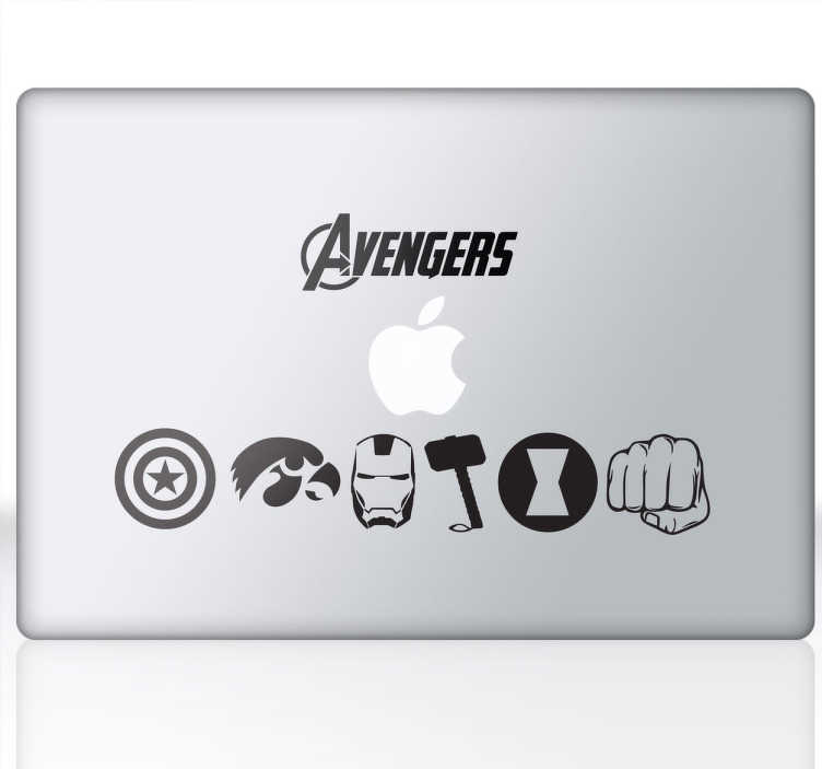 "TenStickers. Laptop Sticker Avengers. Laptop sticker. Ben je een fan van de hit film ""The Avengers""? Of de respectievelijke strips van de beroemde Marvel?"