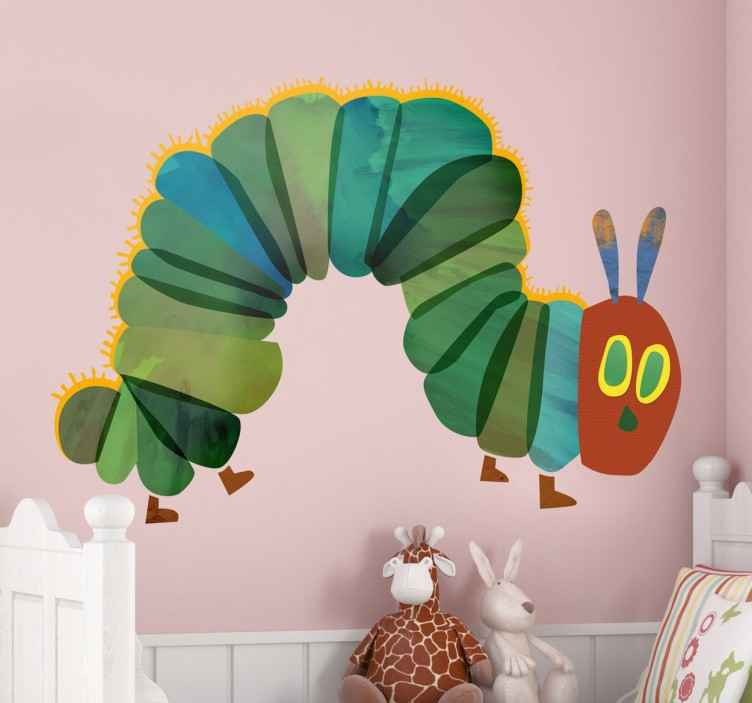"TenStickers. Hungry Caterpillar Wall Sticker. Kids Wall Stickers - Illustration of ""The Very Hungry Caterpillar"" from the children's picture book designed, illustrated and written by Eric Carle."