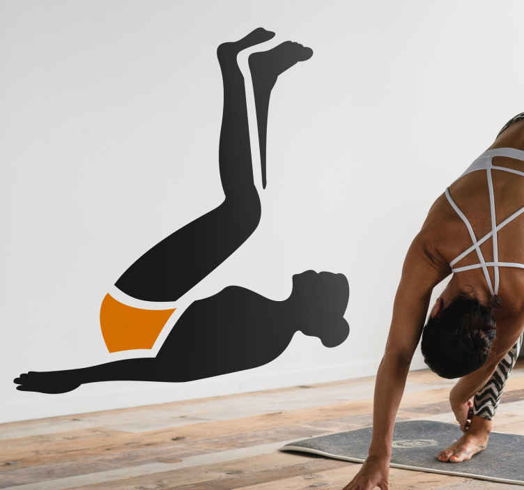 TenStickers. Sticker femme abdos. Un sticker original et motivant quand vos séances d'abdos deviennent difficiles, idéal pour personnaliser votre intérieur ou votre salle de sport.