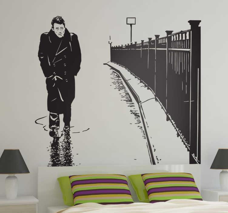 TenStickers. Sticker portrait James Dean pluie. Personnalisez votre intérieur avec le portrait sur sticker du célèbre James Dean se baladant dans les rues de New-York. Un sticker pour les cinéphiles et les fans de l'acteur américain.