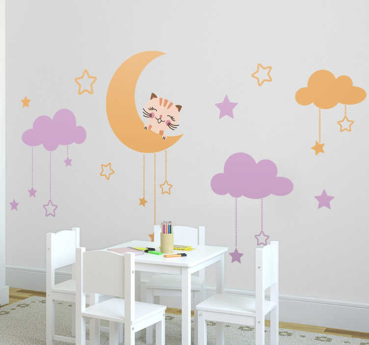 TenStickers. Kids Moon, Kitten & Sky Wall Decal. A playful and fun illustration from our collection of star wall stickers! Ideal for those that love cats and stars! A fabulous decal showing a kitten on the moon surrounded by clouds with hanging stars.