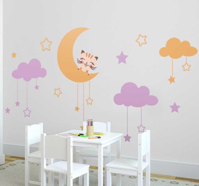 TenStickers. Naklejka na ścianę dla dzieci księżyc i kot. Udekoruj Swój pokój naklejką dekoracyjna, która przedstawia kota zerkającego zza księżyca. Obrazek również zawiera ciekawe chmurki z gwiazdkami.