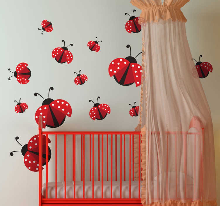 TenStickers. Ladybirds Wall Stickers. Collection of ladybirds for decorating the wall. Use this lovely animals sticker set to brighten up any room and provide a happy atmosphere for your child's bedroom or nursery.