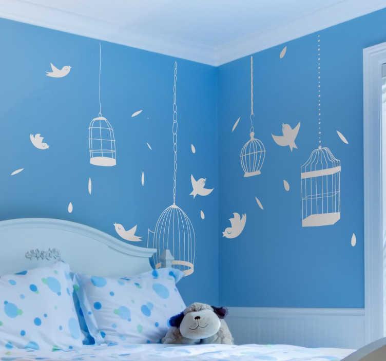 TenVinilo. Sticker vinilo pájaros y jaulas. Colección de distintos vinilos a un solo color con la silueta de aves, jaulas y plumas ideal para decorar una habitación de niños. Las medidas se refieren al conjunto de dibujos.