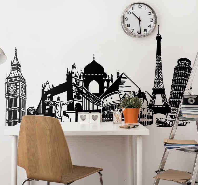 TENSTICKERS. 世界遺産コラージュウォールステッカー. 旅行の壁のステッカー - ロンドン、カイロ、ピサ、パリ、ローマなどの都市の世界各地からの様々なモニュメントのコラージュイラスト。あなたの寝室、リビングルーム以上をパーソナライズするための理想的な場所の壁のステッカー。