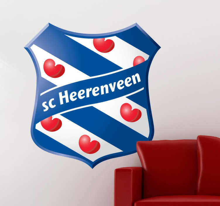 TenStickers. Sticker voetbalclub SC Heerenveen. Mooie muursticker van de populaire club. Bekend in heel Nederland voor hun talenten. Mooie blauw strepen met helder hartjes.