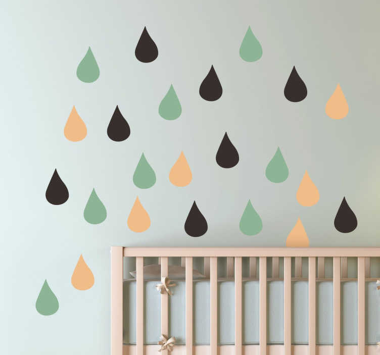TenStickers. Colour Drops Wall Decals. Kids Wall Stickers - Simple decorational feature ideal for the nursery. Three basic colours that you can change if you wish. Measures 2x3.5cm.