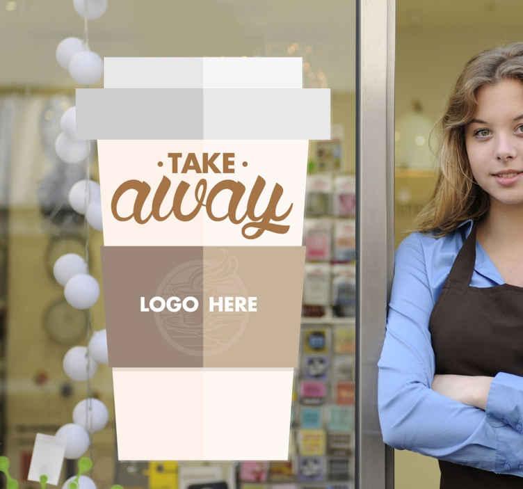 TenStickers. Sticker take away koffie. Indien u een echte koffie fan bent, kunt u deze muursticker mooi behangen aan uw muur of deur. Geschikte wanddecoratie voor particulier en zakelijk.