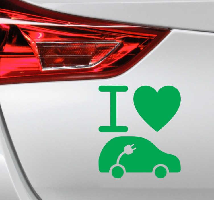 TenStickers. Naklejka elektroniczny samochód. Naklejka na samochód przedstawiająca symbol serca i elektronicznego samochodu, co oznacza nic innego jak 'I love an electric car'.