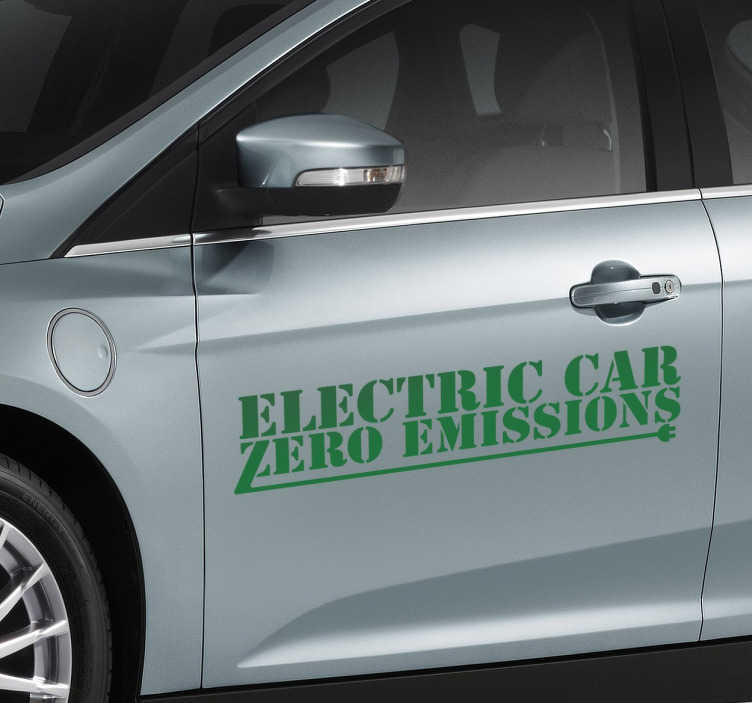 TenStickers. Zero Emissions Car Sticker. Do you own an electric car? Show the world how you look after the environment with this great sticker.