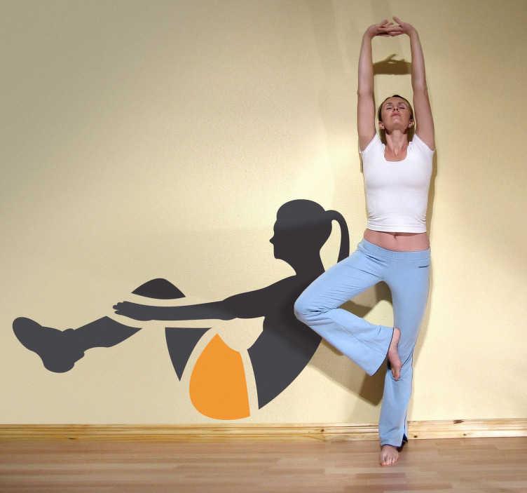 TenStickers. Naklejka ćwiczenia brzuch. Naklejka dekoracyjna przedstawiająca dziewczynę z kucykiem, wykonującą ćwiczenia na mięśnie brzucha.