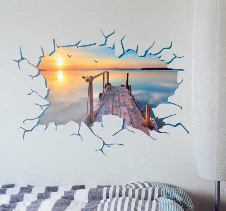 TenStickers. 개인화 된 사진 벽 구멍 스티커. 벽 스티커 - 벽에 구멍이있는 맞춤형 비닐을 사용하면 최고의 추억과 좋아하는 풍경을 볼 수 있습니다.