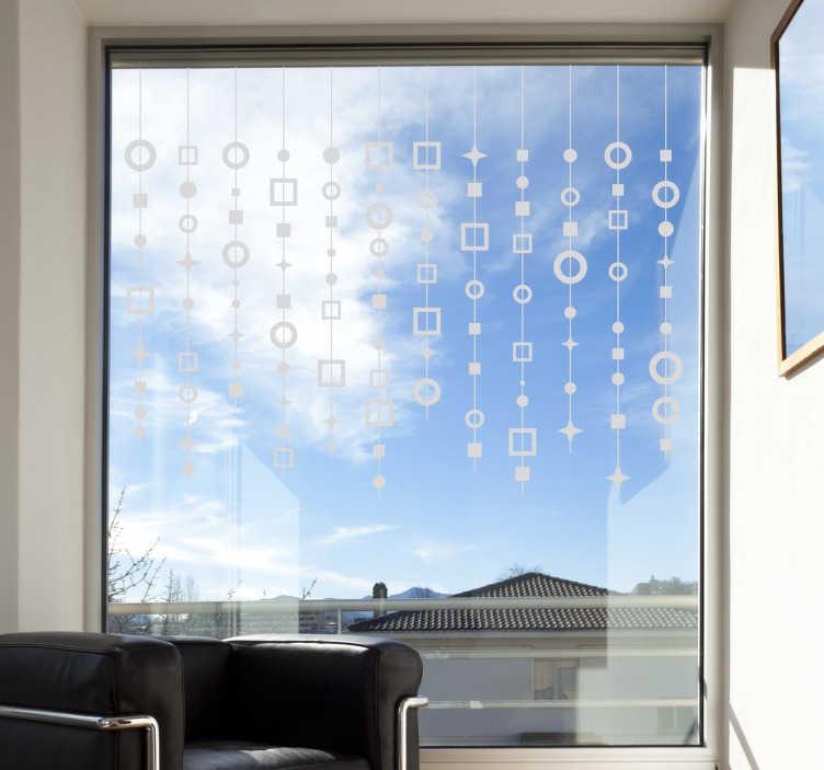 TenStickers. Nalepka abstraktnih zaves. Fantastična okenska nalepka abstraktnih modelov za okrasitev vaših oken doma ali na delu! S to zasnovo pridobite zelo sodoben pridih!