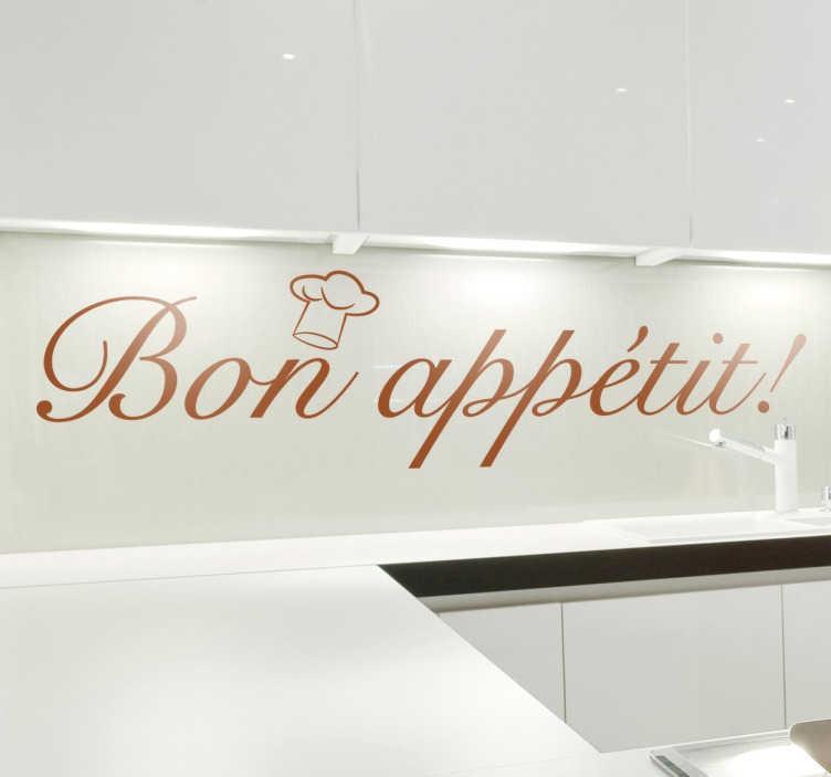 TenStickers. Sticker bon appétit. Personnalisez votre cuisine ou votre restaurant avec cet élégant sticker pour souhaiter bon appétit à vos invités ou à vos clients.
