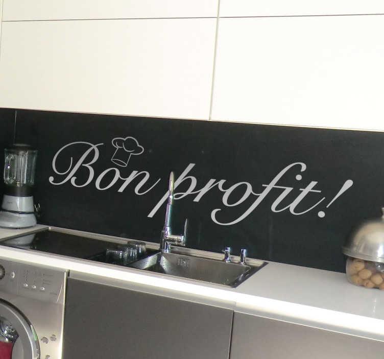 TenVinilo. Vinilo decoracion bon profit. Vinila las paredes de tu cocina o de tu negocio de hostelería con una sencilla frase en catalán que invitará a disfrutar del menú que les ofrezcas.