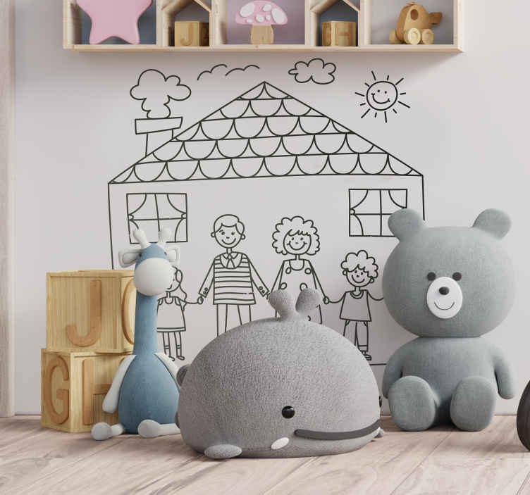 TenStickers. Kids Family Sticker. Decorative kids sticker of a family with a hand drawn effect. Brilliant decal for your child's room. Lovely family wall art design.