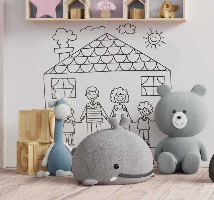 Adesivo bambini disegno famiglia e casa tenstickers for Costo della casa di 900 piedi quadrati