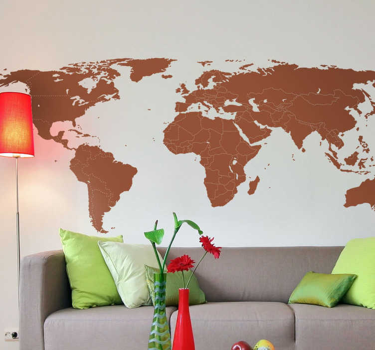 TenStickers. Wereldmap met grenzen sticker. Wereldkaart muursticker waarbij de grenzen van alle landen worden aangegeven met een stippellijn. Kies zelf de kleur en formaat. Ervaren ontwerpteam.