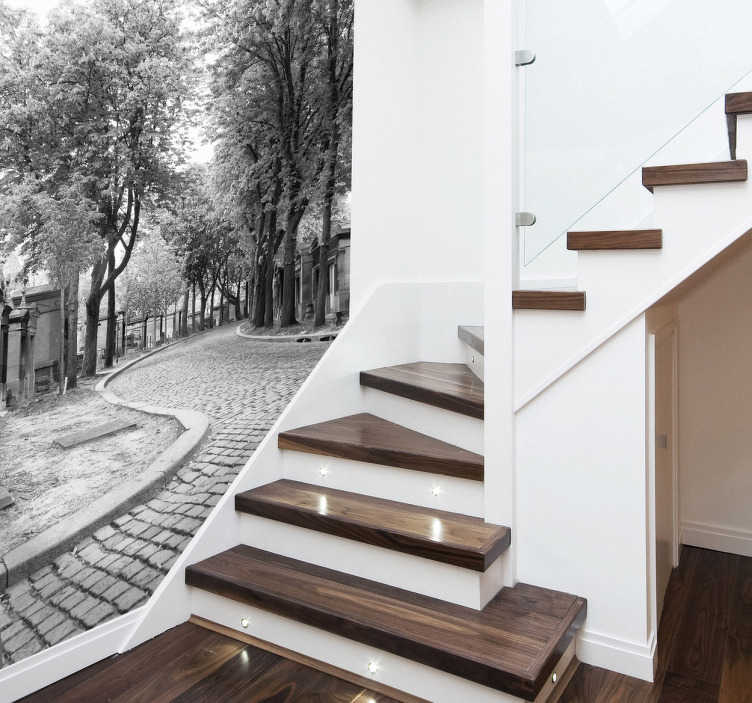 TenStickers. Black and White Road Wall Mural. Photo Murals - Shot of a cobbled street with trees and small sidewalks.