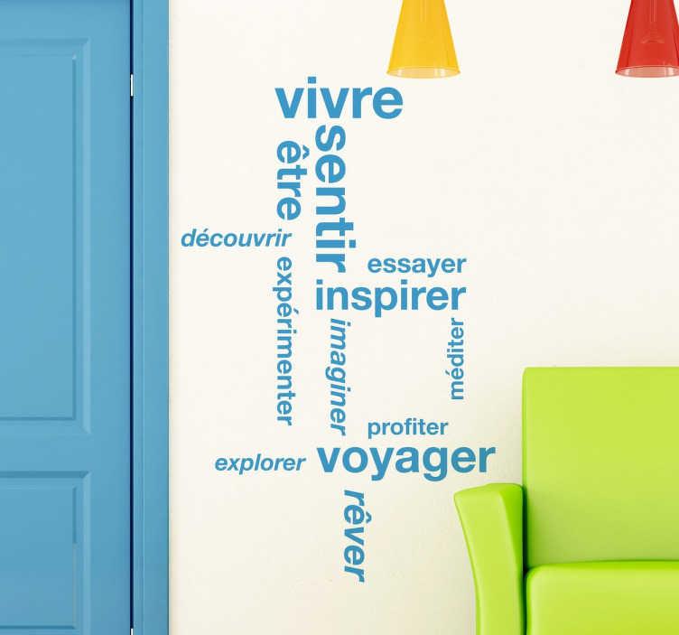 TenStickers. Sticker texte rêves. Un original patchwork de concepts autour de la vie et du rêve pour personnaliser votre intérieur. Un sticker unique pour une décoration à votre image.