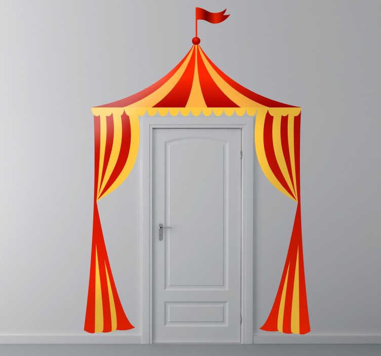 TenStickers. Stencil muro tenda circo color. Uno stencil muro raffigurante una colorata tenda da circo ideale per la creativa decorazione della cameretta dei bambini!