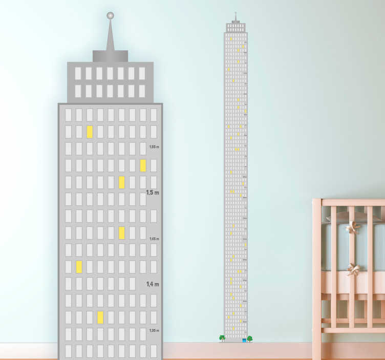TenStickers. Naklejka na ścianę miarka wieżowiec. Miara wzrostu w postaci szarego wieżowca na ścianę dla dzieci.