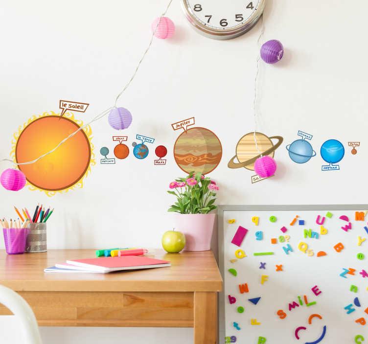 TenStickers. Wandtattoo Planeten. Dieser Wandsticker bringt gleichzeitig Farbe und Wissen in einem.  Helfen Sie Ihrem Kind spielerisch einfach die Planeten zu lernen!