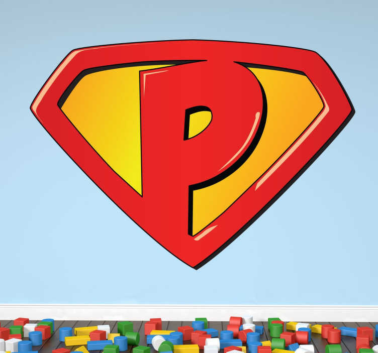 TenStickers. Kids Super P Decal. Kids Wall Stickers - Paul, Paola, Peter, Penelope? Ideal feature for decorating bedrooms for kids or a party event decoration. Easy to apply.