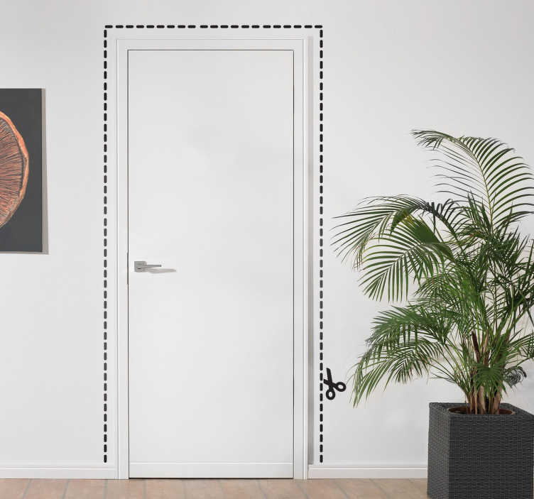 TenStickers. Kniplijn schaar deur sticker. Je kent het wel de bekende knijplijn dat je met een schaar moet knippen. Nu kun je deze lijn om jouw deur plakken!
